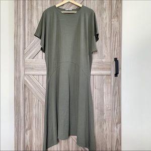 Zara Olive Green Dolman Sleeve Asymmetrical Dress